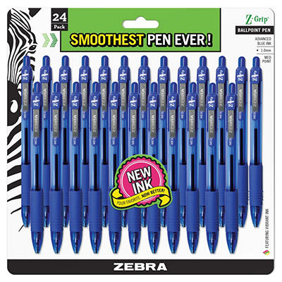 Zebra - Z-Grip Retractable Ballpoint Pen, Blue Ink, Medium -  24/Pack
