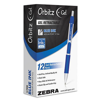 Zebra - Orbitz Retractable Gel Pen, Blue Ink, Medium -  Dozen