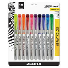 Zebra - Zazzle Liquid Ink Highlighter, Chisel Tip, Asst Colors -  10/Set