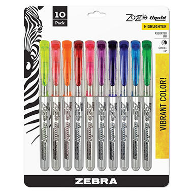 Zebra - Zazzle Brights Hghlghtr, Chisel Tip, Assorted Colors - 10/Set
