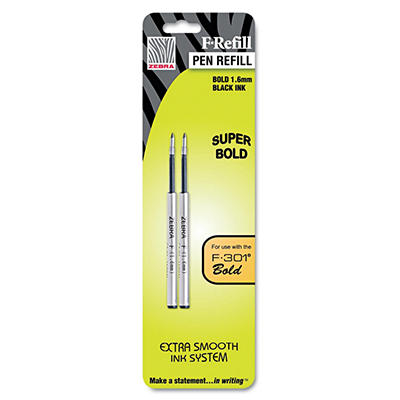 Zebra - Refill for F-301, F-301 Ultra, F-402, 301A, Spiral Ballpoint, Black, Bold - 2 ct.