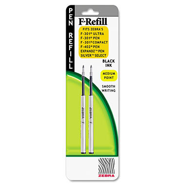 Zebra - Refill for F-301, F-301 Ultra, F-402, 301A, Spiral Ballpoint, Med, Black - 2 ct.