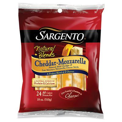 Sargento Natural Blends Cheddar-Mozzarella Cheese Sticks - 24 pk.