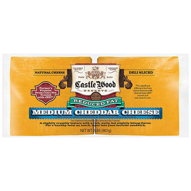Castle Wood Reserve® Medium Cheddar Reduced Fat Natural Deli Sliced Cheese - 2 lb.