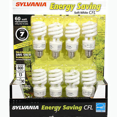Sylvania Energy Saving CFL 60 Watt - 8ct