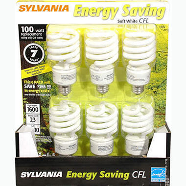 Sylvania Energy Saving CFL 100 Watt - 6ct