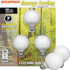 SYLVANIA Energy Saving 9 watt Globe - 3pk