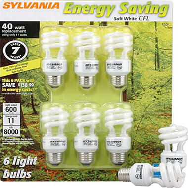 SYLVANIA Energy Saving 40W equivalent - 6pk