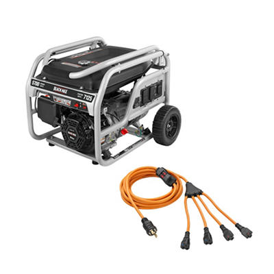Black Max 5,700 Watt Gas Portable Generator with 30 AMP Cord