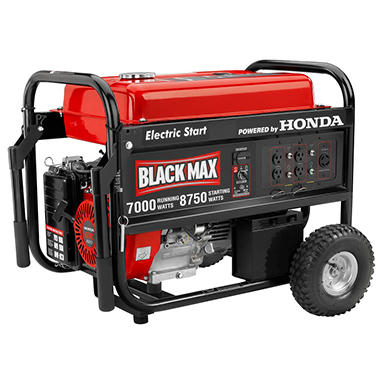 Black Max 7,000 Watt Portable Gas Generator with Electric Start - Powered by Honda