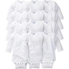 Gerber Onesies Long-Sleeve 12-Piece White GROW WITH ME Set