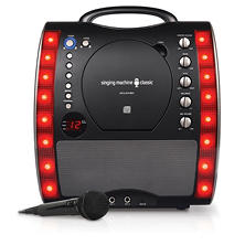 Singing Machine SML343BK Portable CD + G Karaoke System with LED Disco Lights and Microphone