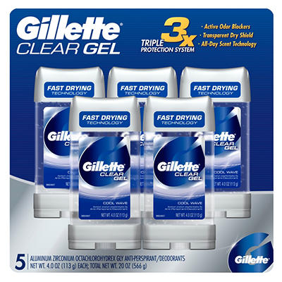 Gillette Clear Gel Coolwave Deodorant (4 oz., 5 pk.)
