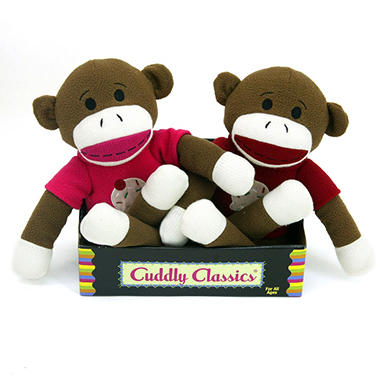 2 pk. Cuddly Classic Sock Animal - Monkeys