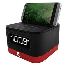 Space Saver FM Stereo Clock Radio for Smartphones