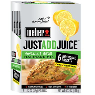 Weber Just Add Juice Garlic & Herb - 6 ct. - 1.12 oz. ea.