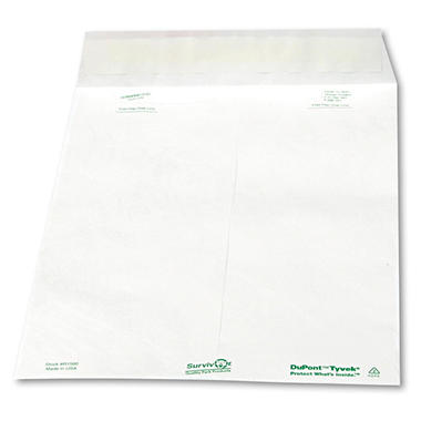 Quality Park - Tyvek Mailer, Side Seam, 10 x 13, White, 100 per Box
