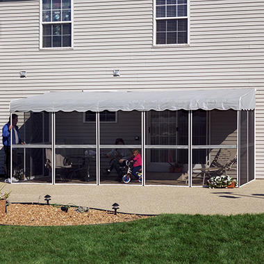 "PatioMate� Screen Enclosure - 7'8"" x 19'3"" - Gray"