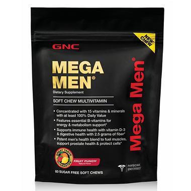GNC Mega Men Multivitamin Sugar Free Soft Chews - 60 ct.