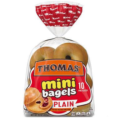 Thomas' Mini Bagels - Plain - 15 oz. - 10 pk.
