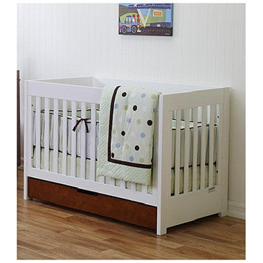 Baby Mod Parklane 3-in-1 Convertible Crib with Toddler Bed Conversion Kit, Amber and White