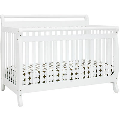 Emily 4-in-1 Convertible Crib with Toddler Rail - White