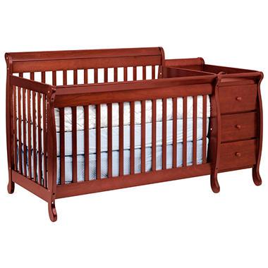 Kalani Crib and Changer Combo with Toddler Rail - Cherry