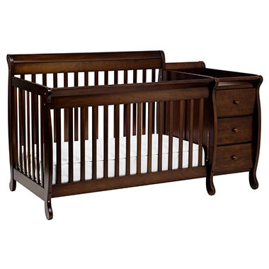 Kalani Crib and Changer Combo with Toddler Rail - Espresso