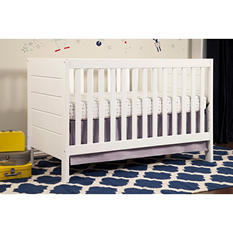 Babymod Modena 3-in-1 Convertible Crib with Toddler Bed Conversion Kit, White