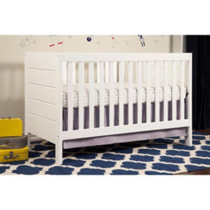 Baby Mod Modena 3-in-1 Convertible Crib with Toddler Bed Conversion Kit, White