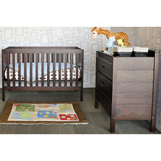 Babymod Modena 3-in-1 Convertible Crib with Toddler Bed Conversion Kit, Espresso