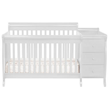 Kalani Crib and Changer Combo with Toddler Rail - White