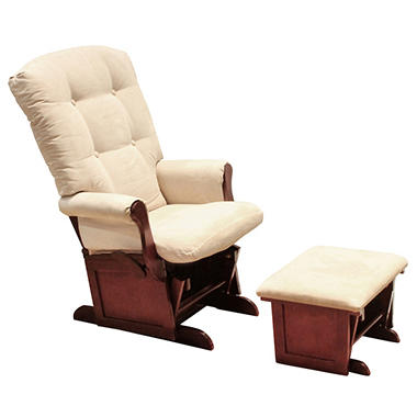 DaVinci Sleigh Multiposition Lock Glider and Ottoman - Beige/Cherry