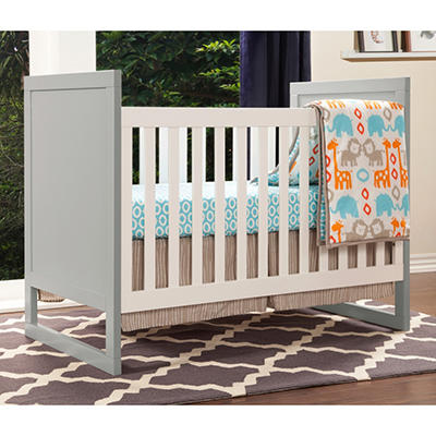Babymod Modena Mod Two Tone 3-in-1 Convertible Crib, Gray and Walnut