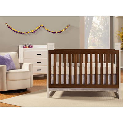Babymod Modena Mod Two Tone 3-in-1 Convertible Crib, White and Walnut