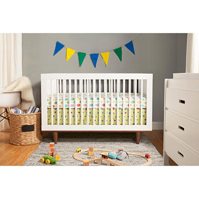 Babymod Marley 3-in-1 Convertible Crib, White and Walnut