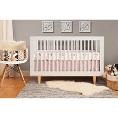 Babymod Marley 3-in-1 Convertible Crib, White and Natural