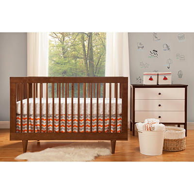 Babymod Marley 3-in-1 Convertible Crib, Walnut