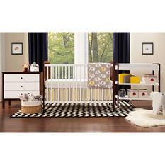 Babymod Payton 4-Piece All In One Modern Nursery Set, White and Espresso