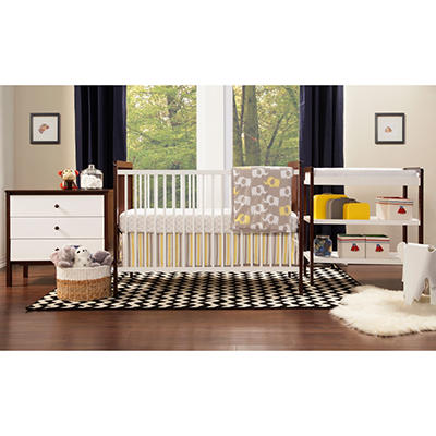 Babymod Payton 4-Piece All In One Modern Nursery Set, White and Espresso