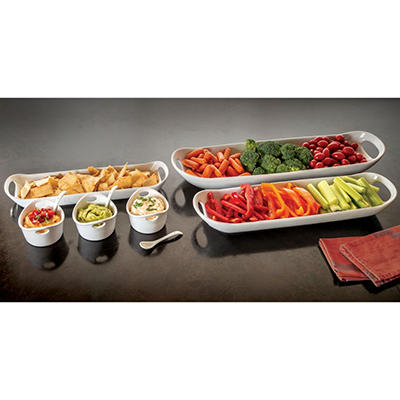 White Ceramic Serving Set  9-Piece