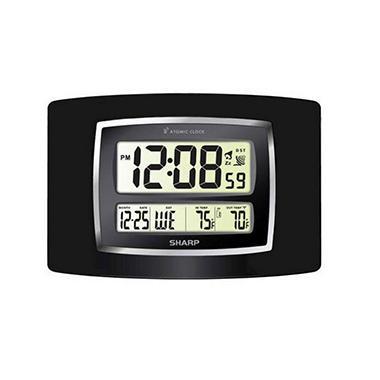 Sharp Digital Atomic Wall Clock - Woodgrain