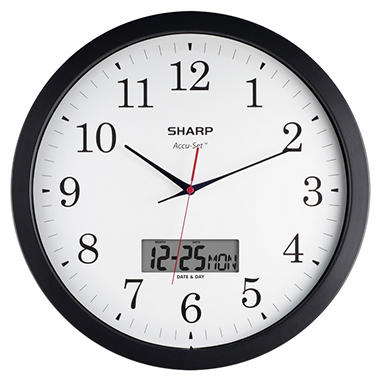 Sharp AccuSet Round Wall Clock - 14""
