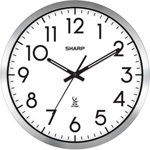 "Sharp Analog Atomic Wall Clock, 14"" Diameter"