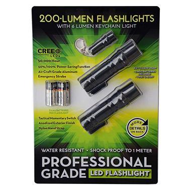 200 Lumen Professional Grade LED Flashlight with 6 Lumen Keychain Light