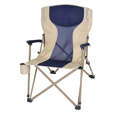 Oversize, Folding Arm Chair - Navy/Tan