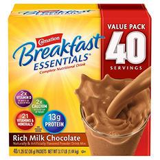 Carnation Breakfast Essentials Rich Milk Chocolate Complete Nutritional Drink Mix, 1.26 oz, (40 ct.)