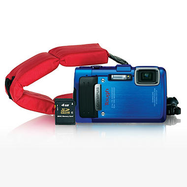Olympus TG-830 16MP Camera Bundle with 4GB SD Card and Float Strap - Blue