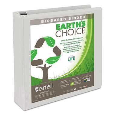 Samsill Earth's Choice Biodegradable Round Ring View Binder, White, Select Size
