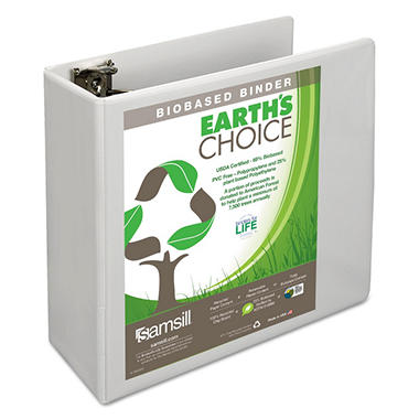 "Samsill - Earth?s Choice Biodegradable Round Ring View Binder, 4"" Capacity, White"